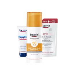 Eucerin Sun trousse 50+  Control fluide  50ml + huile de douche 20ml + baume  réparateur 10ml