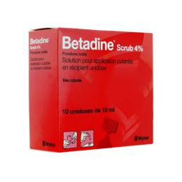Betadine Scrub 4% solution pour application cutanée en récipient unidose - 10x10ml