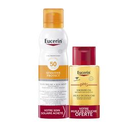 Eucerin Sun Sensitive Protect SPF50 brume Transparent - 200ml + Huile de douche offerte - 100ml