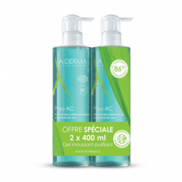 A-Derma Phys-AC Gel moussant purifiant - 2x400ml