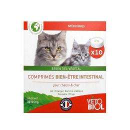 Vétobiol BIO Bien-être intestinal chaton et chat - 10 comprimés