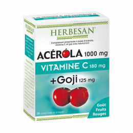 Herbesan Acérola 1000 mg + goji 125mg + vitamine c 180 mg - 30 comprimés